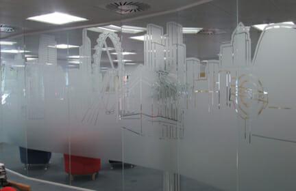 Display graphics window vinyl printing