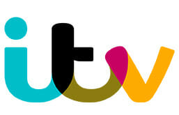 Image of ITV's logo. We have provided ITV with many of our printing services over a long-term relationship.